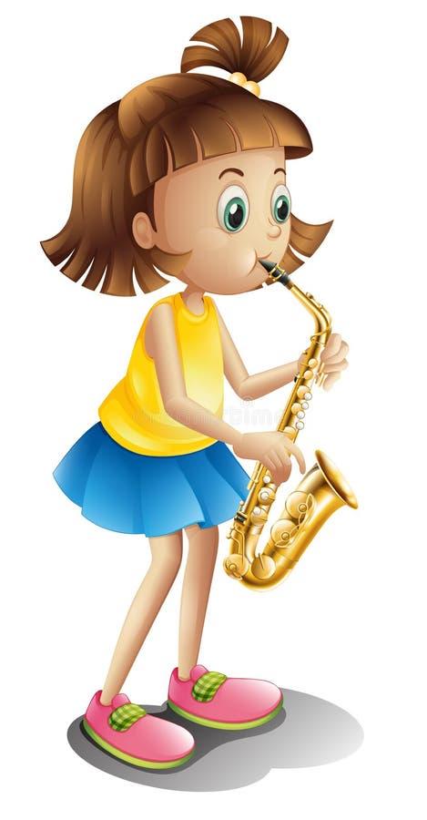 En ung dam som spelar med saxofonen royaltyfri illustrationer