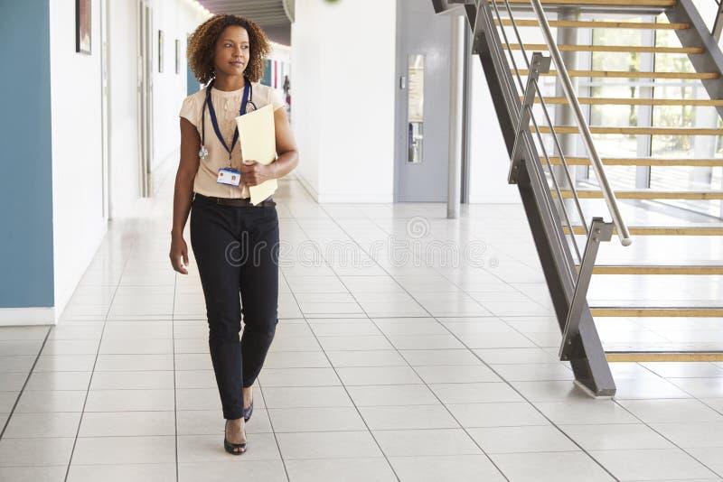 En ung doktor med stetoskopet som går i modern lobby royaltyfri fotografi