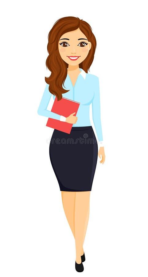 En ung flicka i en affärsdräkt med en mapp i hennes hand kontorsarbete tecken Affär och finans royaltyfri illustrationer