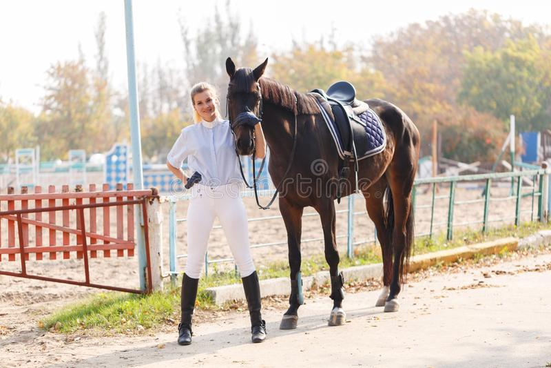 En ung flicka i ridningutrustning står nära mörk häst utomhus fotografering för bildbyråer