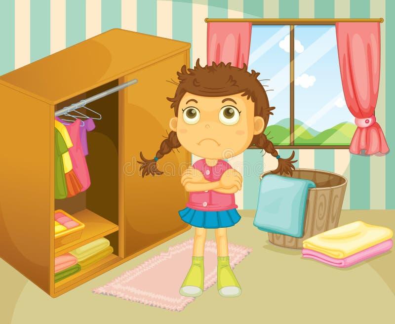 En ung flicka med en dålig hårdag stock illustrationer