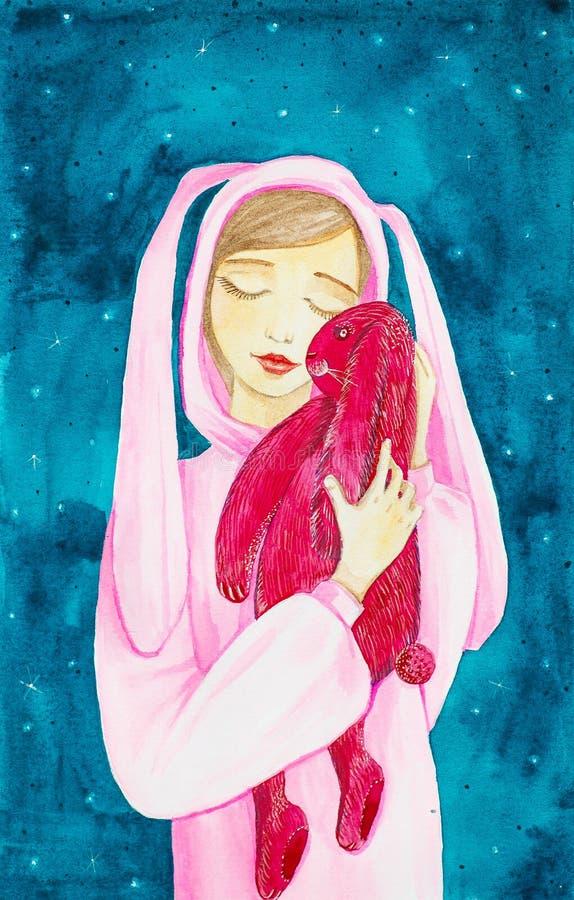 En ung flicka med hennes ögon som stängs i en rosa kanindräkt, kramar en stor röd kaninleksak Vattenfärgillustration på en abstra stock illustrationer