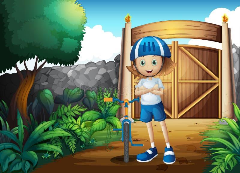 En ung flicka och hennes cykel inom porten royaltyfri illustrationer
