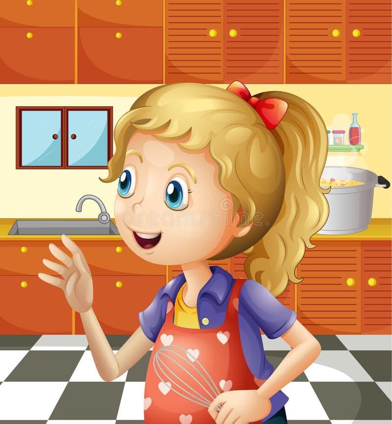 En ung flicka på köket som rymmer en blandare vektor illustrationer