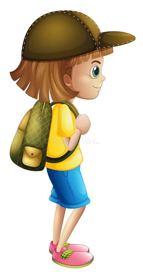 En ung flicka som är klar för att fotvandra stock illustrationer