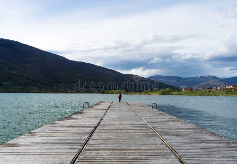 En ung flicka som bara står i mitten av ramen som ut ser in mot platsen Fridsamt och härligt landskap Ett långt fotografering för bildbyråer