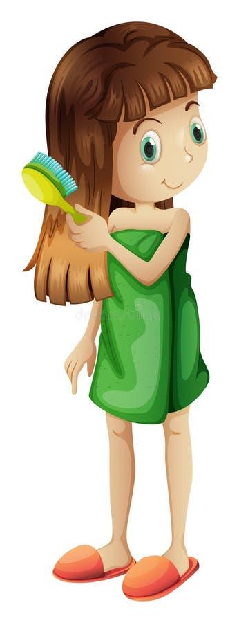 En ung flicka som kammar hennes långa hår royaltyfri illustrationer
