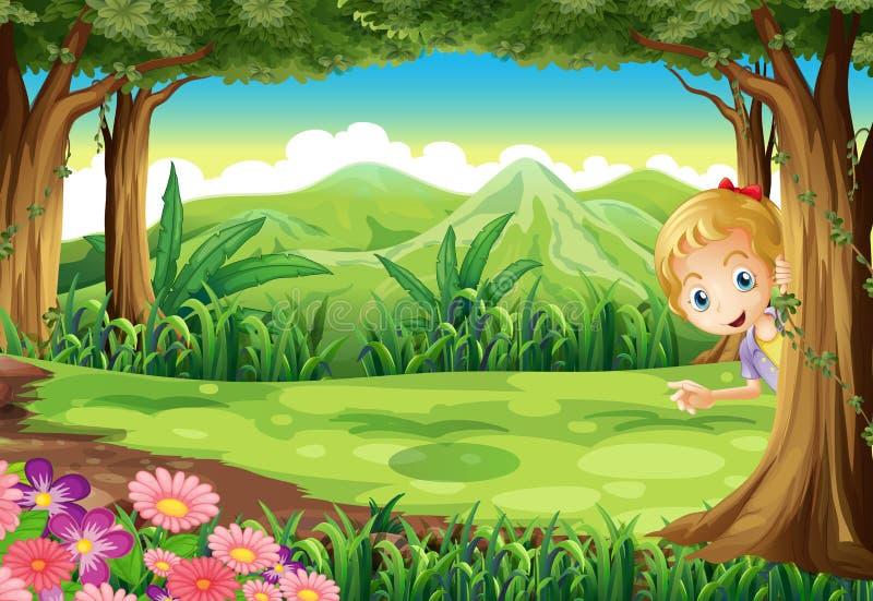 En ung flicka som spelar kurragömma på skogen stock illustrationer