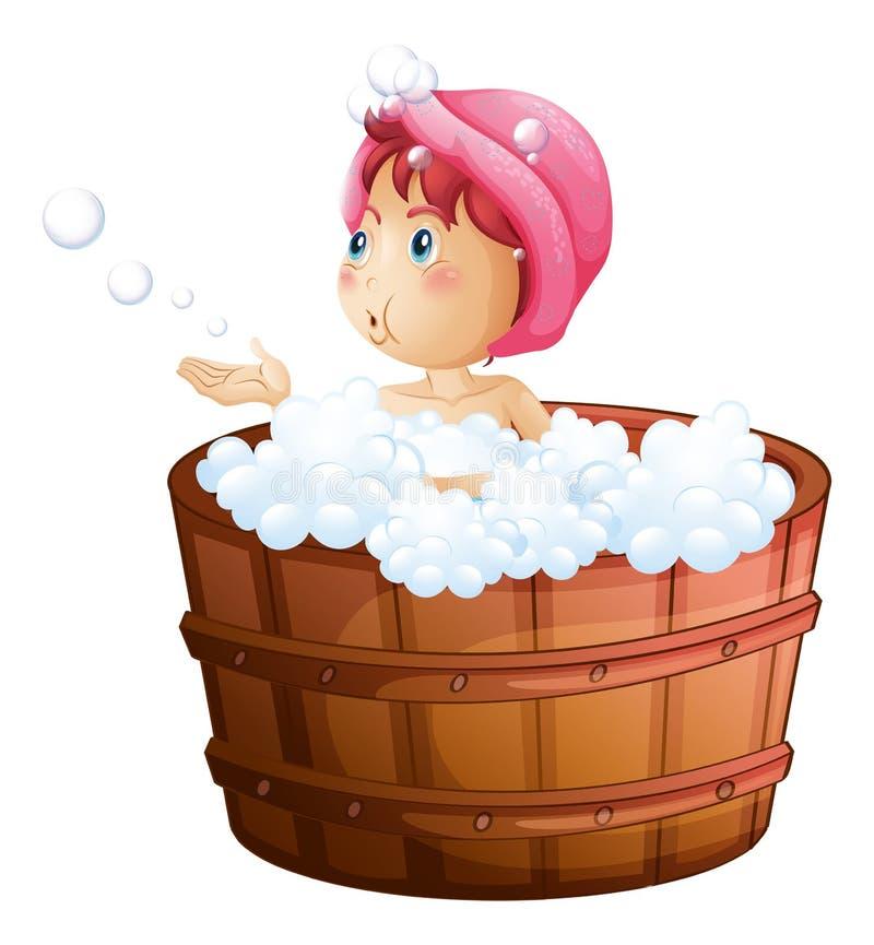 En ung flicka som spelar med bubblorna, medan ta ett bad stock illustrationer