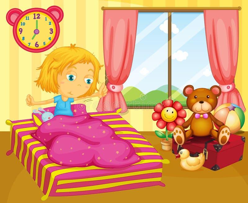 En ung flicka som vaknar upp stock illustrationer
