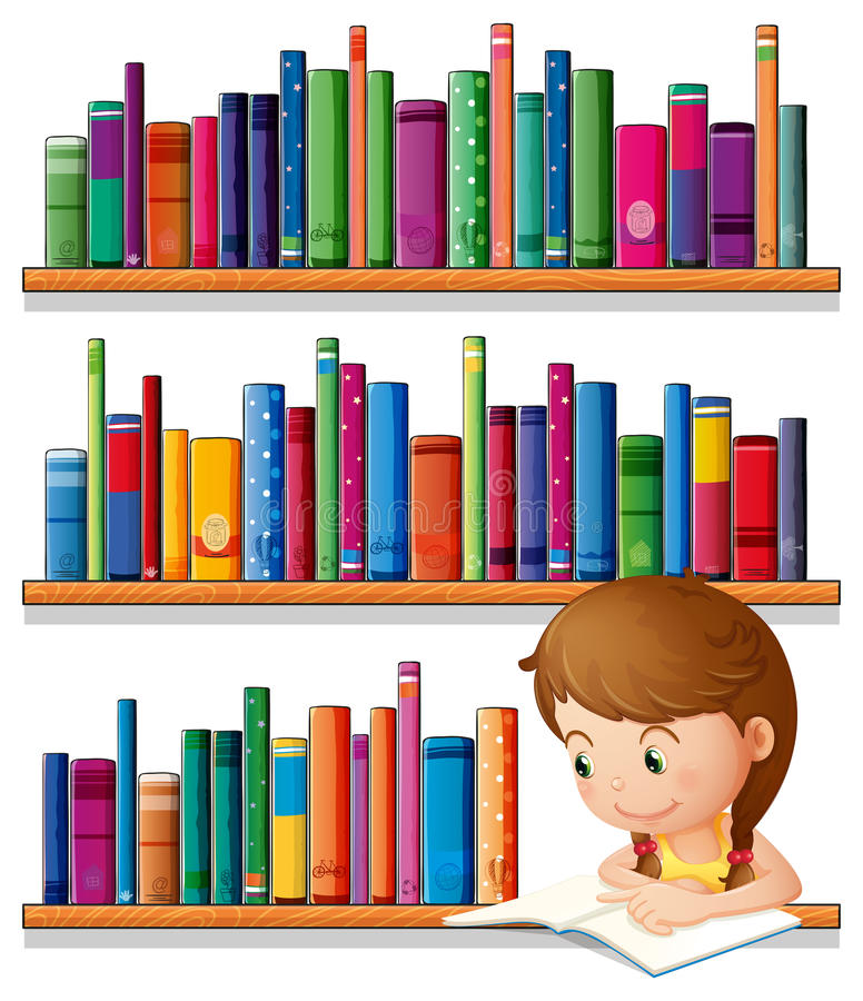 En ung flickaläsning i arkivet vektor illustrationer