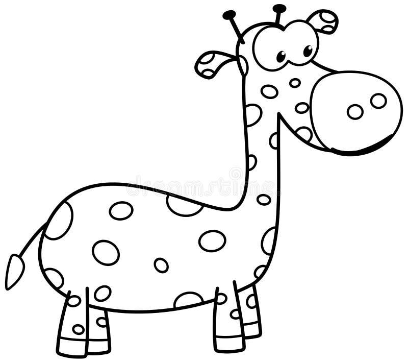 En ung giraff för att färga vektor illustrationer