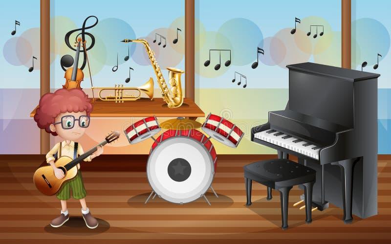En ung gitarrist inom musikstudion royaltyfri illustrationer