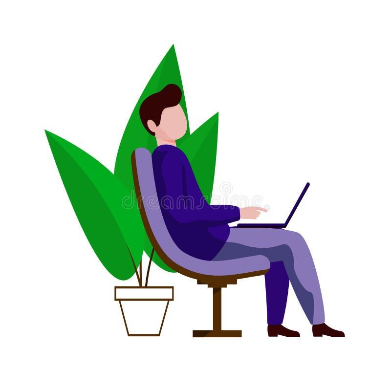 En ung grabb som sitter i en stol med en bärbar dator på hans knä En man som arbetar på en dator som omges av växter royaltyfri illustrationer