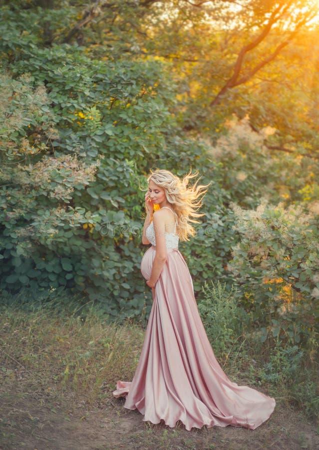 En ung gravid kvinna med ljus som fladdrar hår, är iklädd en lång rosa satäng som den siden- lyxiga klänningen med en vit snör åt arkivfoto
