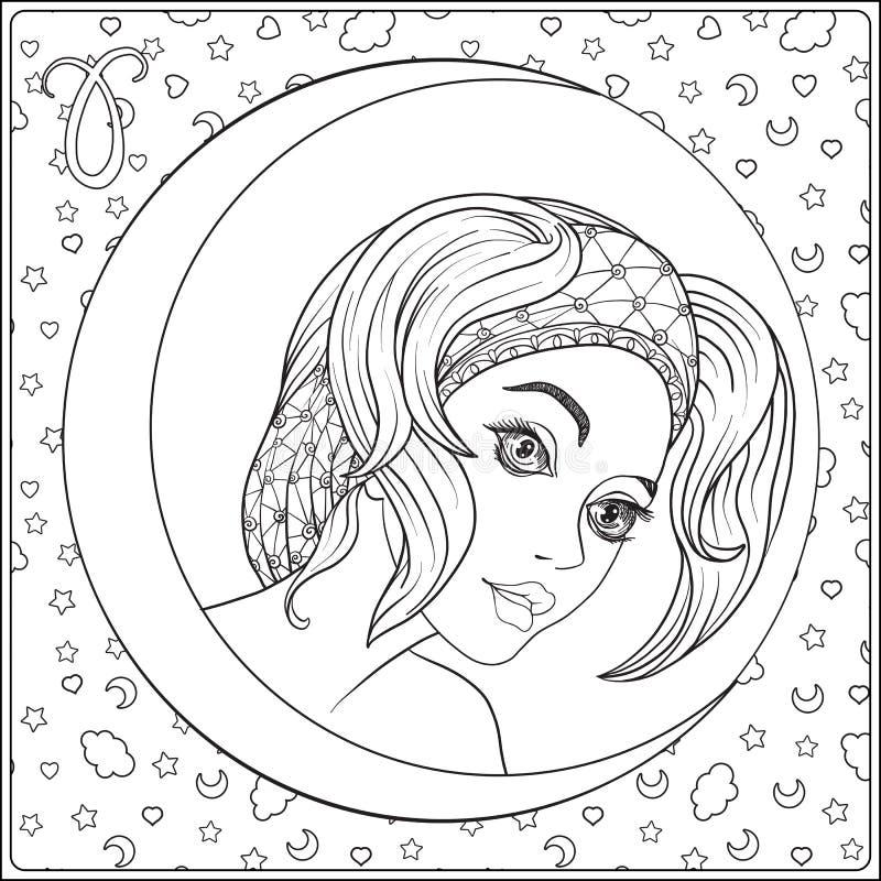 _ En ung härlig flicka i form av ett av tecknet stock illustrationer