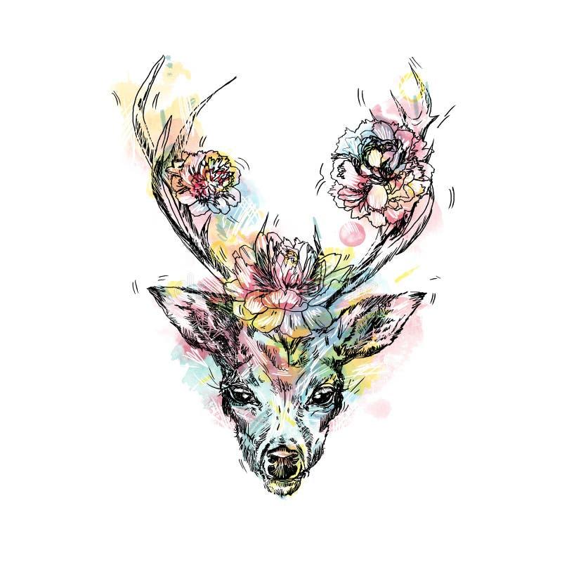 En ung hjort med kåta horn som pioner planteras på illustration Planlägg en tatuering, ett symbol av mystisk magi royaltyfri illustrationer