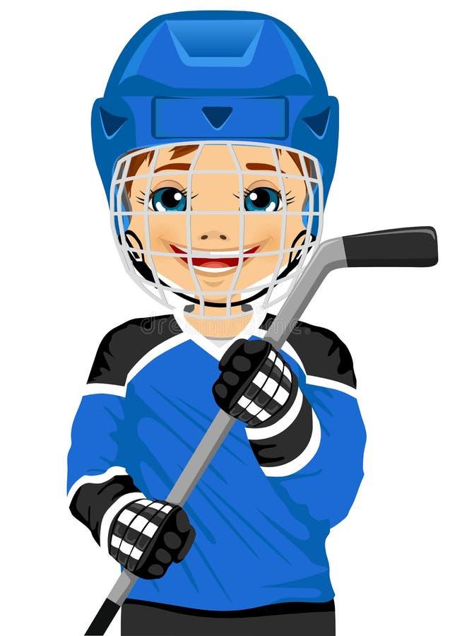 En ung hockeyspelare i likformig med en ishockeypinne stock illustrationer