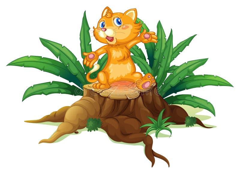 En ung katt ovanför stubben stock illustrationer