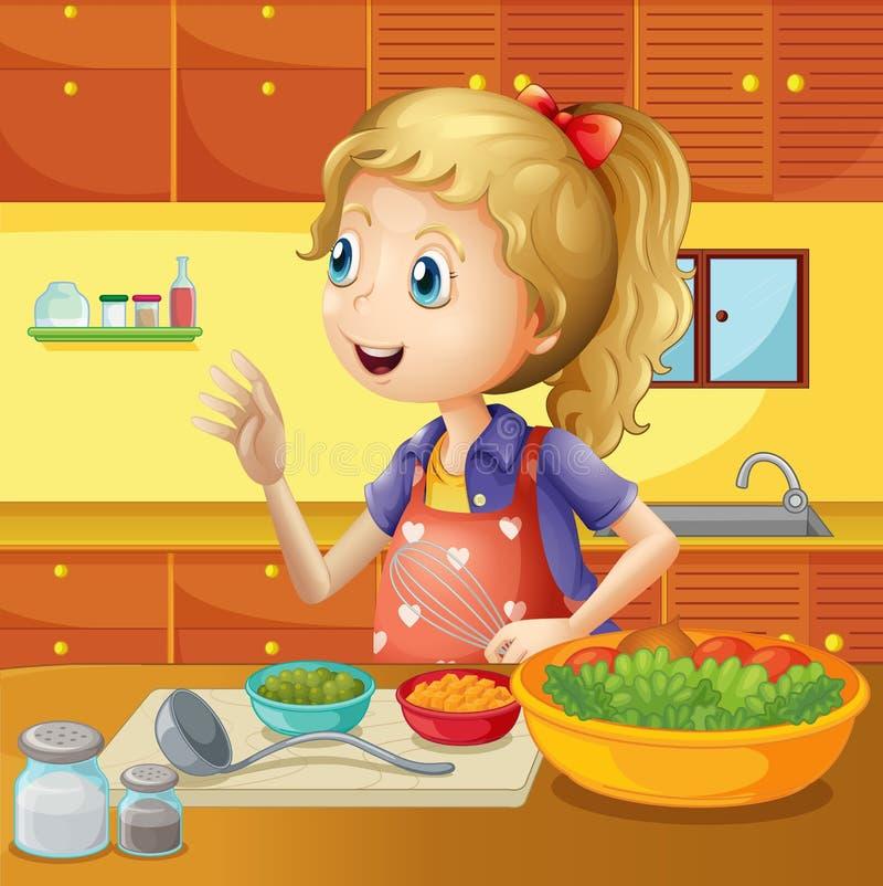 En ung kock i köket royaltyfri illustrationer