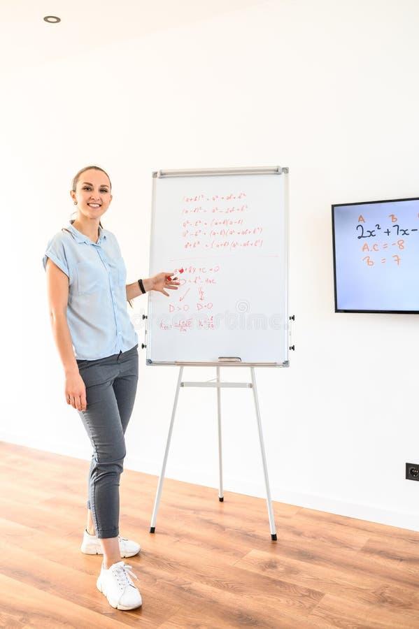 En ung kvinna använder spegeldiagram och bildskärm för att undervisa arkivbilder