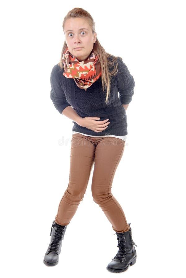 En ung kvinna har diarré royaltyfri bild