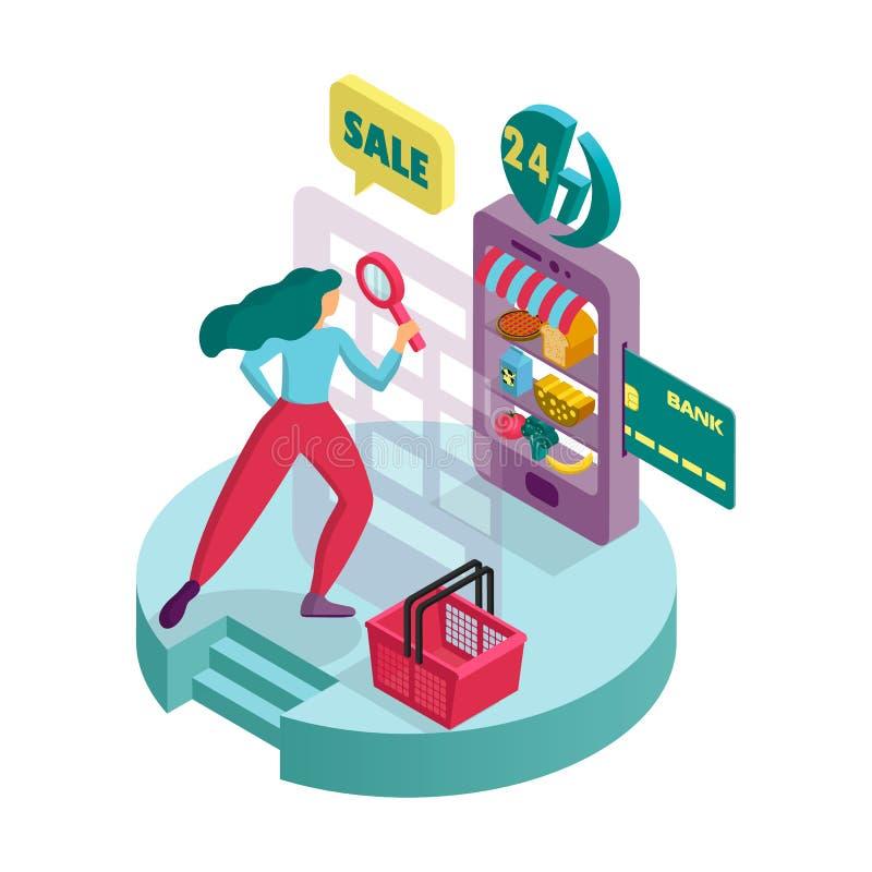 En ung kvinna köper produkter i en online-supermarket Isometrisk symbol 3D Infographics stock illustrationer