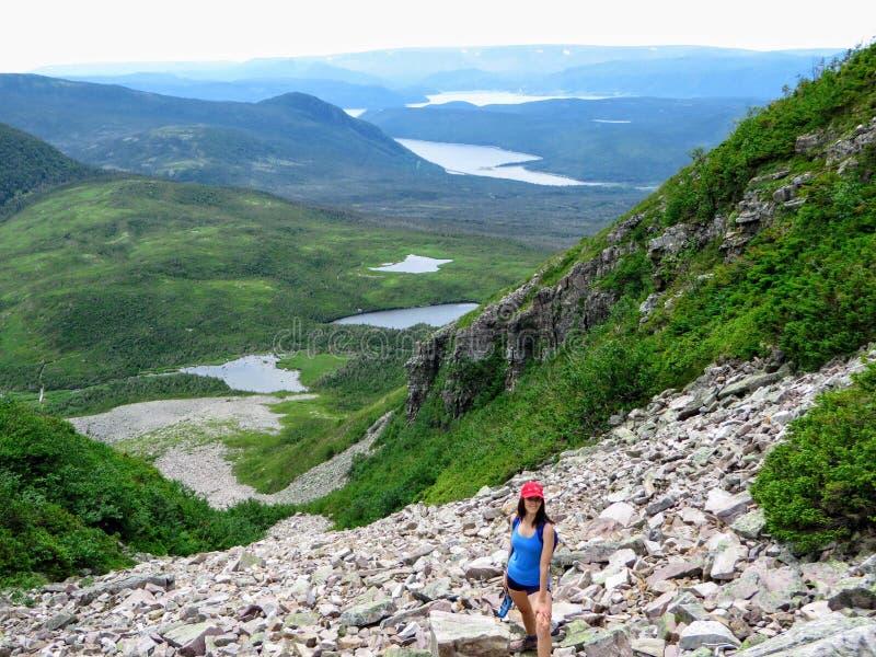 En ung kvinnlig fotvandrare som klättrar nära toppmötet av Gros Morne Mountain, i Gros Morne National Park, Newfoundland och labr royaltyfria bilder