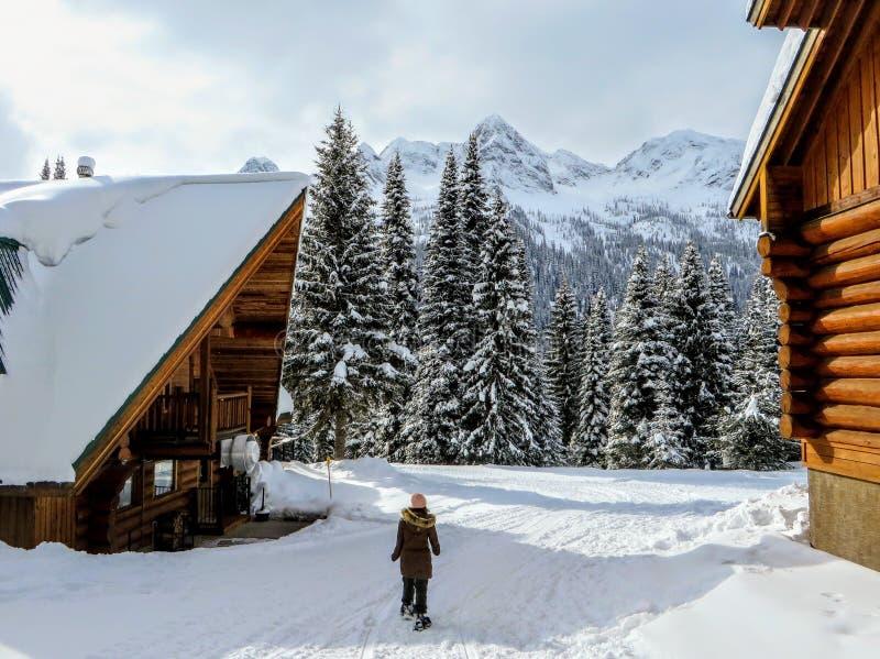 En ung kvinnlig snowshoer som går i - mellan två träkabiner under vintern i den avlägsna snön täckte skogar av Fernie royaltyfria bilder