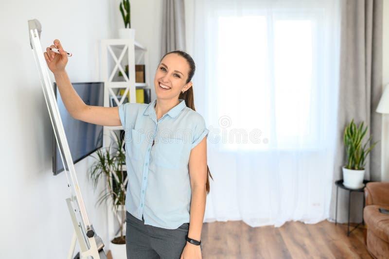 En ung lycklig kvinna använder flip-diagram och bildskärm för att undervisa royaltyfria foton