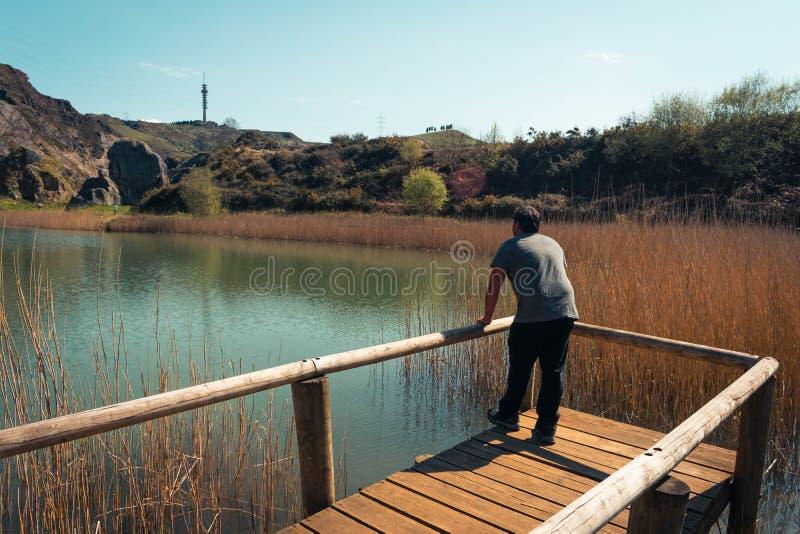 En ung man bara p? en sj?, st?ende, laarboleda, basque land royaltyfria bilder