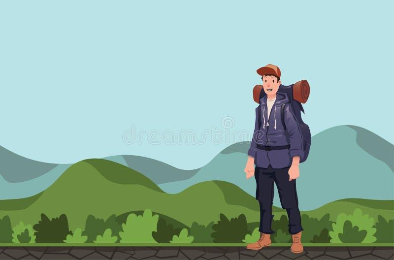 En ung man, fotvandrare i ett bergigt område Fotvandrare utforskare Vektorillustration med kopieringsutrymme royaltyfri illustrationer