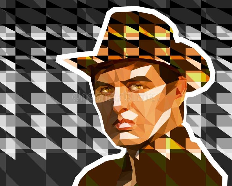 En ung man i brun cowboyhatt royaltyfri illustrationer