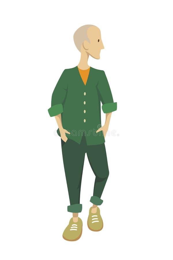 En ung man i ett grönt omslag royaltyfri illustrationer