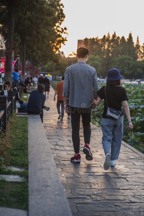 En ung man som långsamt går på kusten av Xuanwu sjön i solnedgången royaltyfria foton