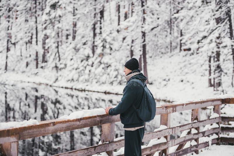 En ung manlig fotvandrare för man står framme av en vintersjö som ser till det snöig landskapet, bakre sikt Slapp fokus arkivbild