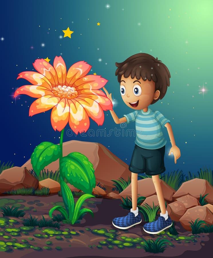 En ung pojke bredvid den jätte- blomman stock illustrationer