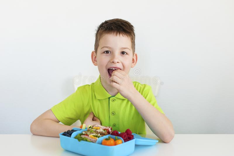 En ung pojke som äter en sund skolalunch royaltyfri foto