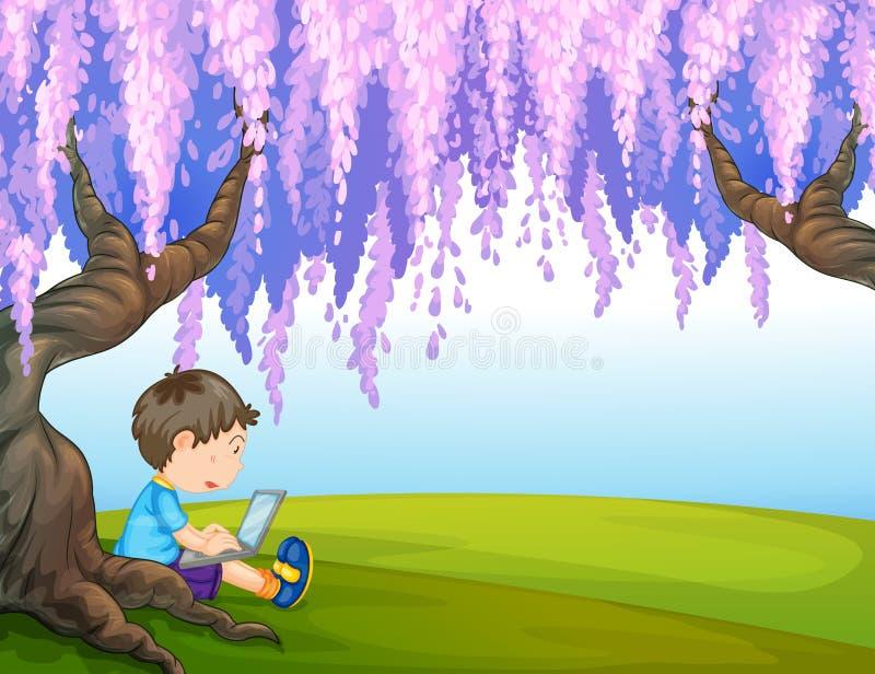 En ung pojke under ett stort träd stock illustrationer