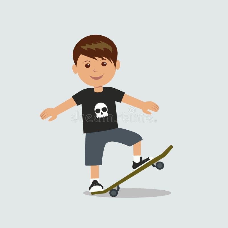 En ung pojke utför ett trick på en skateboard vektor illustrationer