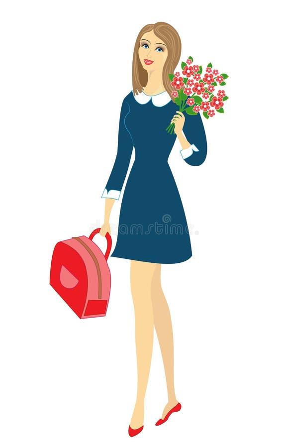 En ung skolflicka g?r att skola Flickan ?r mycket trevlig, henne har ett bra lynne, ett leende Damen b?r en bukett av blommor och royaltyfri illustrationer