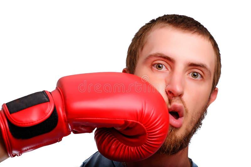 En ung sportman-boxare poserar till kameran Mannen fick en stansmaskin till framsidan vid den röda boxninghandsken arkivbild