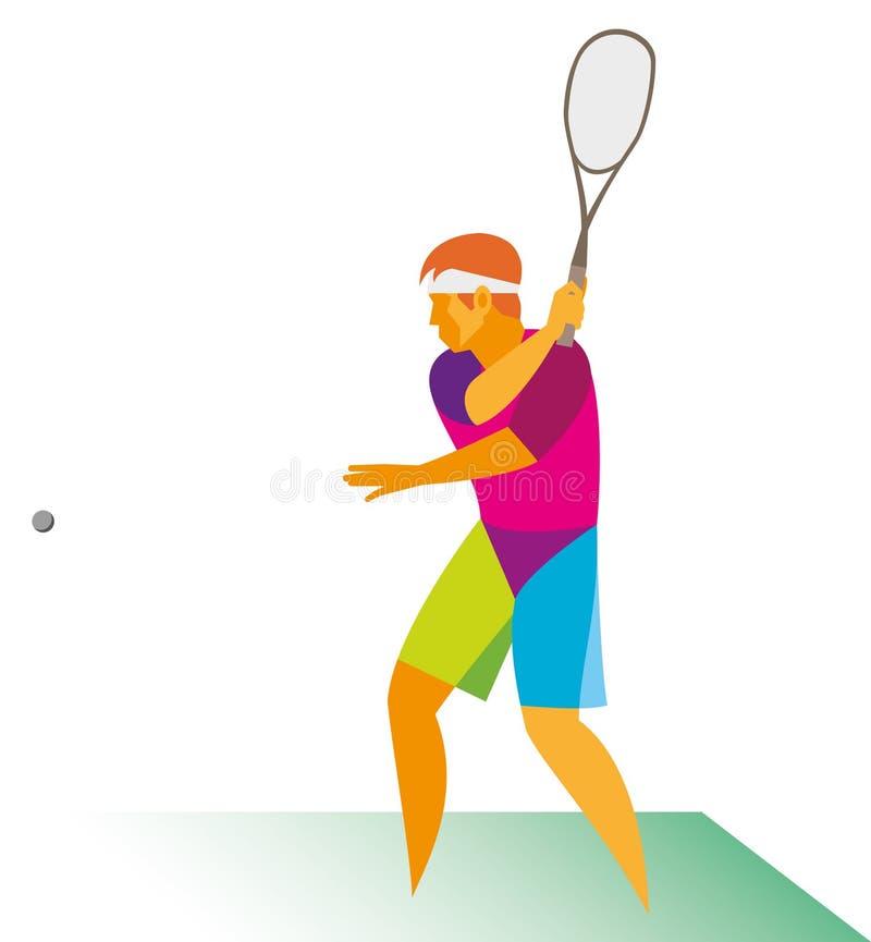 En ung squashspelare slår bollen skarpt vektor illustrationer