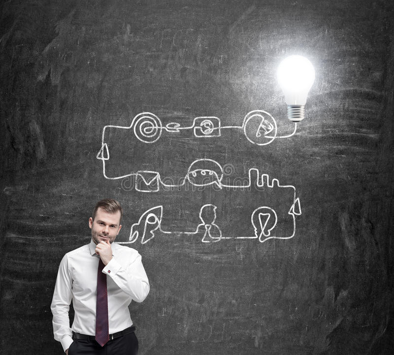 En ung stilig affärsman tänker om processen av att framkalla en ny idé Ett flödesdiagram dras på den svarta svart tavlan arkivfoton
