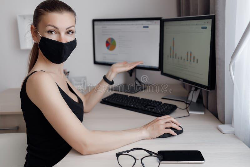 En ung vacker kvinna tillbringar tid med att arbeta på en dator som uppfyller kraven på självisoleringsläge under en epidemi royaltyfria bilder