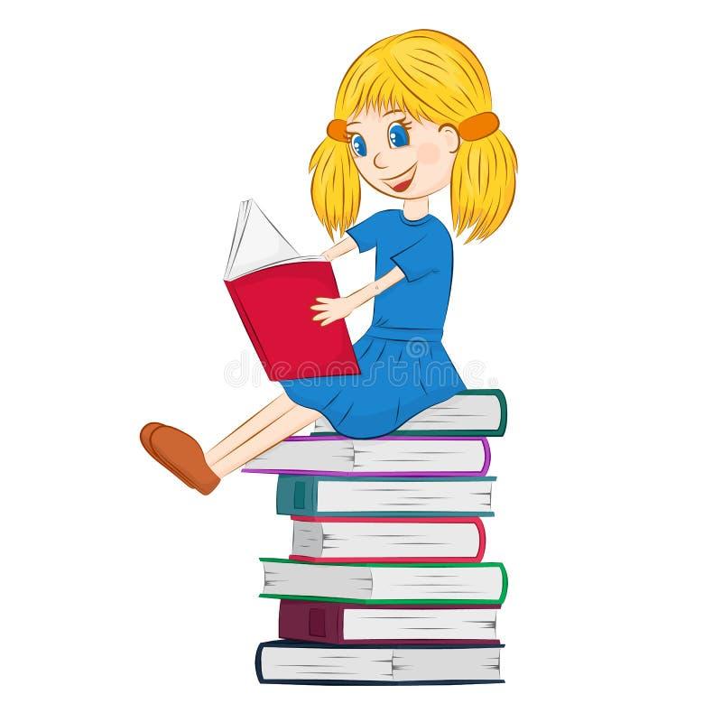 En unge som läser en bok stock illustrationer