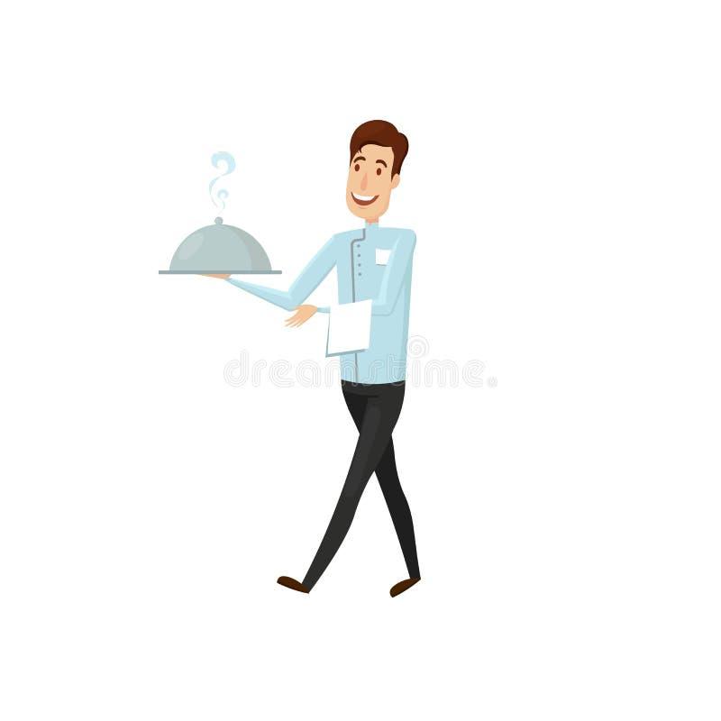 En uppassare med en varm maträtt i restaurangen Lägenhet- och tecknad filmstil Vektorillustration på en vit bakgrund royaltyfri illustrationer