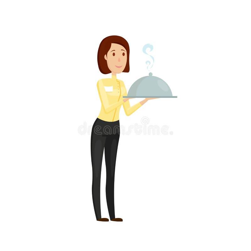 En uppassare med en varm maträtt i restaurangen Lägenhet- och tecknad filmstil Vektorillustration på en vit bakgrund stock illustrationer