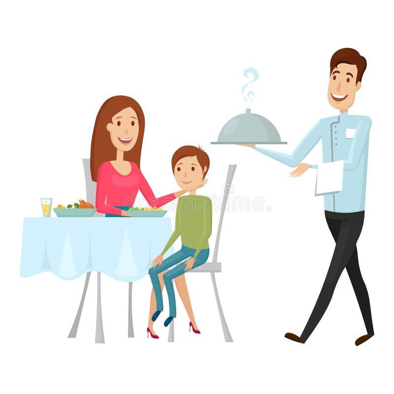 En uppassare med en varm maträtt i restaurangen Vektorillustration på en vit bakgrund Lägenhet- och tecknad filmstil vektor illustrationer