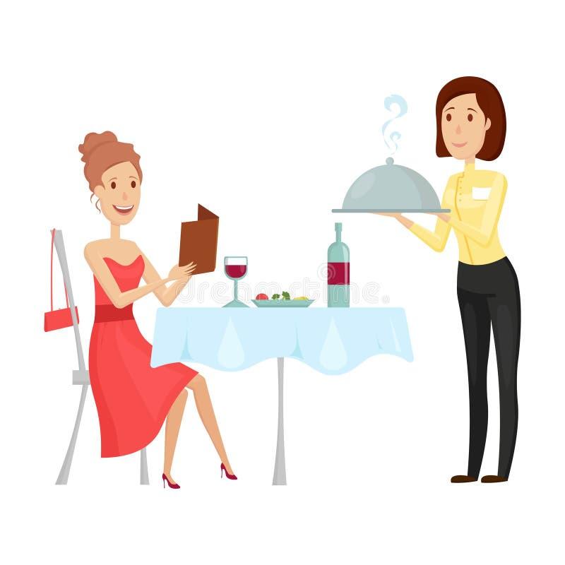 En uppassare med en varm maträtt i restaurangen Vektorillustration på en vit bakgrund Lägenhet- och tecknad filmstil stock illustrationer